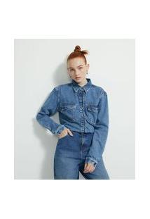 Camisa Marmorizada Em Jeans Com Bolsos De Lapela Assimétrica   Blue Steel   Azul   Gg
