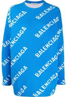 Balenciaga Suéter Com Logo - Azul