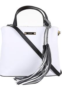 166897a03 ... Bolsa Couro Luz Da Lua Handbag Bicolor Feminina - Feminino-Branco