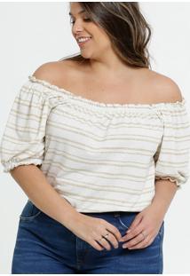 Blusa Plus Size Feminina Ombro A Ombro Listrada