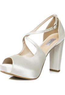 585a82823 R$ 289,95. Tricae Sandália Com Salto Alto Off White Noiva - Confortável  86096