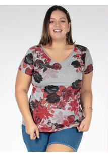 Blusa Floral Com Tira Nas Costas Plus Size