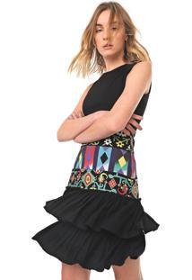 Vestido Desigual Curto Elisabeth Preto