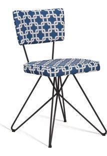 Cadeira Butterfly Retro Preto E Azul