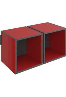 Nicho Quadrado Duplo Decorativo Lyam Decor Mov Vermelho