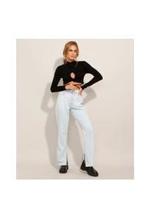 Calça Reta Jeans Com Fenda Cintura Super Alta Azul Claro