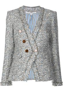 Veronica Beard Tweed Double Breasted Jacket - Azul