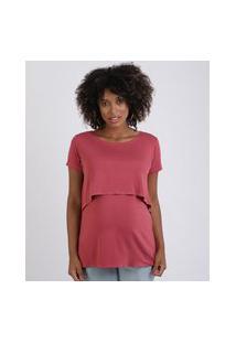 Blusa Feminina Gestante Alongada Com Sobreposição Manga Curta Rosa Escuro