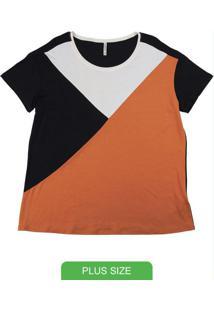 Blusa Plus Size Em Viscose Com Recorte Preto
