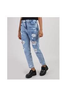 Calça Jeans Feminina Mom Cintura Alta Destroyed Azul Claro