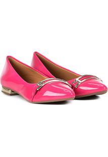 Sapatilha Griffe Bico Fino Metal - Feminino-Pink