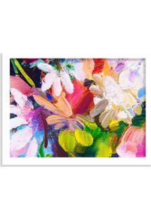 Quadro Decorativo Flores Abstratas Em Textura Branco - Grande