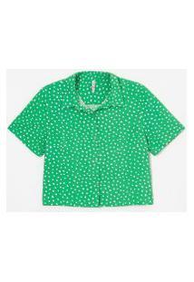 Camisa Curta Em Viscose Estampa Poá | Blue Steel | Verde | M