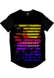 Camiseta Longline Praias Florida Beach Sublimada Masculina - Masculino-Preto