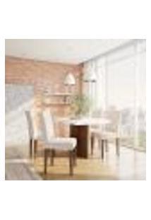 Conjunto De Mesa De Jantar Atlanta Ii Com Tampo De Vidro Off White E 4 Cadeiras Grécia Veludo Creme