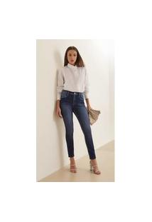 Calça Iodice Skinny Cós Intermediário Bordado Industrial Jeans