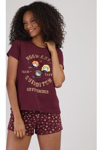 Pijama Feminino Harry Potter Grifinória Manga Curta Vinho