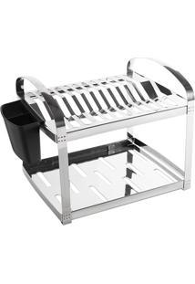 Escorredor Em Inox Para 12 Pratos Com Porta Talheres Em Plástico Suprema 41,5X28,5Cm