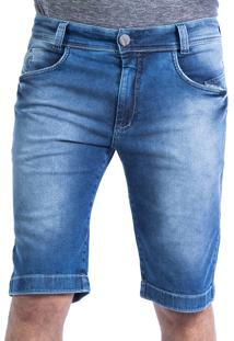 Bermuda Jeans Carlan Bordada No Bolso