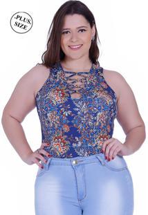 Body Feminino Zigma Plus Size Cavado Azul