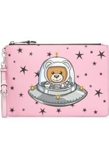 Moschino Clutch Com Estampa 'Teddy Bear' - Rosa