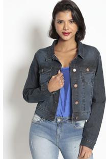 Jaqueta Em Sarja Com Bolsos- Azul Escuro- Doctdoct