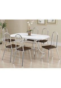 Mesa 1507 Branca Cromada Com 6 Cadeiras 182 Cacau Carraro