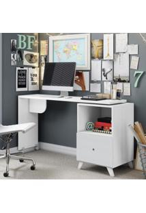 Escrivaninha Com Tampo Giratório 1 Gaveta Carinho Albatroz Móveis Branco Textura