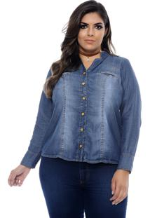 Camisa Forma Rara Jeans Plus Size Louisiana Azul