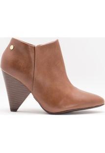Bota Feminina Ankle Boot Com Salto Em Cone Vizzano