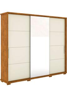 Guarda Roupa New Fortuno 3 Portas De Correr C/ Espelho Nature Off White Madeirado Robel Móveis - Tricae