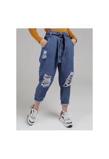 Calça Jeans Slouchy Com Amarração Sawary Feminina Azul