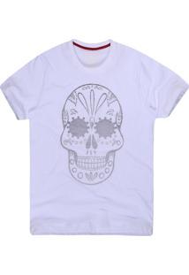 Camiseta Khelf Masculina Caveira Mexicana Branco