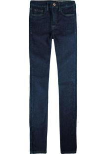 Calça Azul Escuro Reta Flex Jeans Feminina