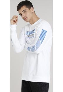 "Camiseta Masculina Kings Sneakers ""Street Style"" Manga Longa Gola Careca Branca"