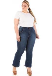 Calça Jeans Confidencial Pantacourt Com Lycra Plus Size Feminina - Feminino-Azul