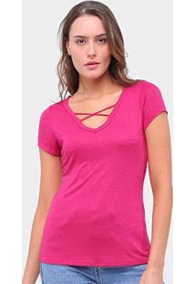 Camiseta Lecimar Tiras Feminina - Feminino-Rosa