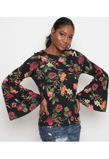 Blusa Floral Com Recortes- Preta & Laranja- Tritontriton