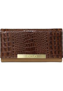 Carteira Em Couro Recuo Fashion Bag Croco Caramelo