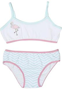 Conjunto Flamingo De Soutien Top + Calcinha Biquíni - Veevanilda