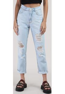 Calça Jeans Feminina Mom Cropped Cintura Alta Destroyed Azul Claro