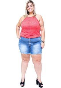 Shorts Jeans Bokker Plus Size Samel Feminino - Feminino-Azul