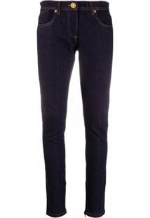 Versace Calça Jeans Slim Com Patchwork - Azul