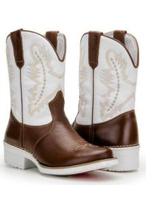 Bota Texana Country Capelli Palmilha Gel Confort Masculina - Masculino-Marrom+Branco