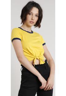 Blusa Feminina Básica Com Amarração Manga Curta Decote Redondo Amarela