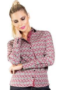 Camisa Carlos Brusman Feminina Slim Reta Arabesco - Feminino-Vermelho