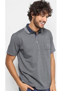 Camisa Polo Em Jacquard Aleatory Manga Curta Masculina - Masculino-Marinho