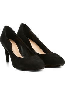 Scarpin Couro Shoestock Salto Médio Ondas - Feminino-Preto