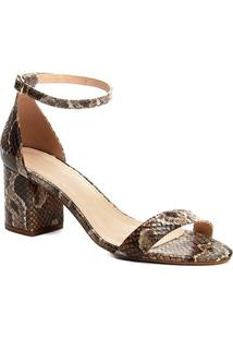 Sandália Couro Shoestock Salto Grosso Snake Feminina - Feminino-Cobra