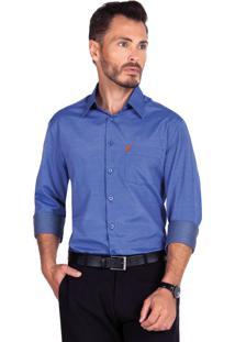 ... Camisa Olimpo Camisaria Maquinetada Com Bolso Azul 230050f5669d3